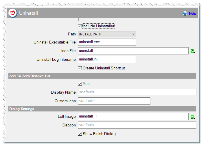 Опции деинсталлятора в инсталляторе CreateInstallAssistant