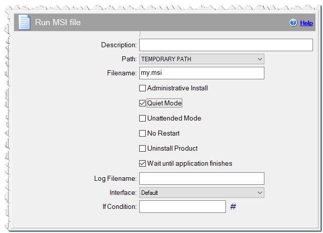 Команда Запустить MSI файл
